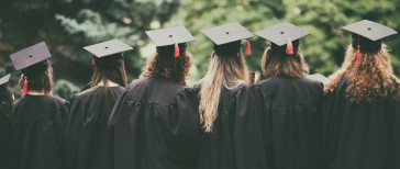 line of backwards facing graduates