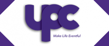 UPC logo with purple border