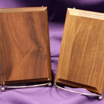 Plaque bases (Left: composite, Right: solid walnut)