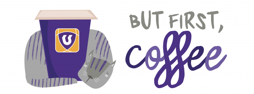 """cat curled around coffee cup, text says """"but first, coffee"""""""