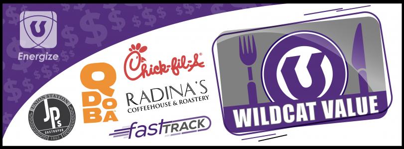 Wildcat Value logo with restaurant logos
