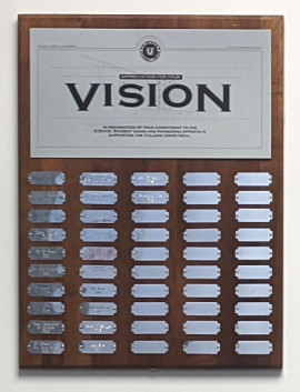 Vision Award plaque with names